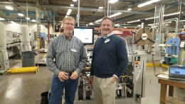 Quad/Graphics chooses the AC-20 Autocase casemaker for their POD hardcover initiative in Versailles, KY. L-R: Thomas Porat and Ted Greene.